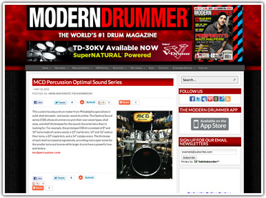 Modern Drummer Press Release for MCD OSS Series Custom Drums